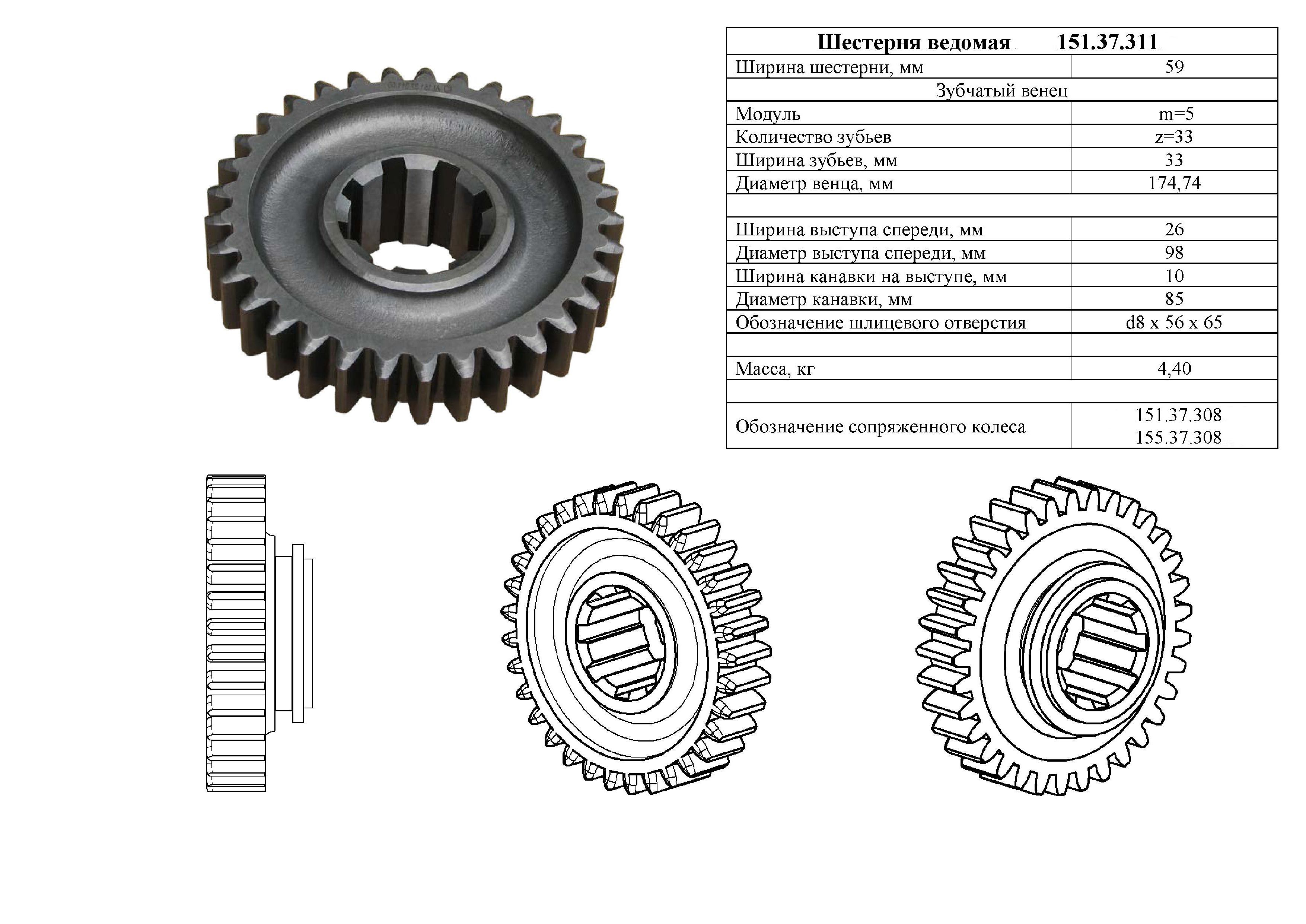 Характеристики Шестерни 151.37.311-2Б