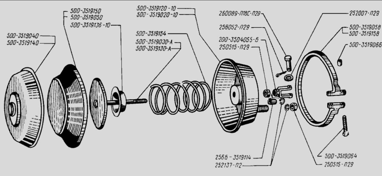 Схема Камеры тормозной ХТЗ 500-3519010-01